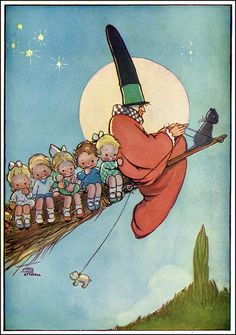 Mabel Atwell--Mother Goose and A Load Of Passengers On Her Broom