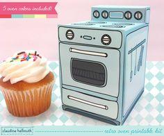 retro oven cupcake box printable kit