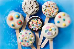 OREO Party on a Stick recipe- these would be cute done with white chocolate and red and blue sprinkles. Easy enough for little sister to help make.