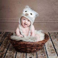 6 months, infant photography, baby owls, photo shoot, hat patterns, crochet owls, newborn photography props, 6 month photos, owl hat