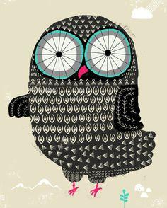draw, dan walter, owlish art, chouett, birdi art, design, owls, owl illustr, hoot
