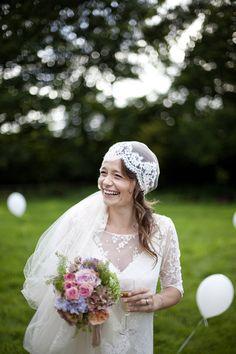 Modern vintage wedding inspiration! vintag bride, gorgeous smile, beauti veil, flower