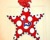 Patriotic Fourth of July Memorial Day Star Burlap Door Hanger Decoration HUGE 2 ft  - Military Summer Polka Dots
