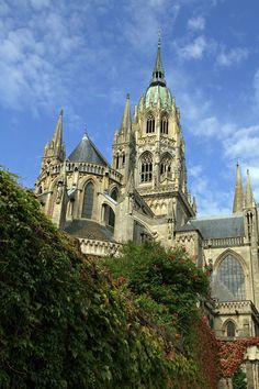 Bayeux Cathedral - Bayeux is the home of the Bayeux Tapestry (XI century) , which  depicts how William the Conqueror became the first Norman king of England after the Battle of Hastings. This cathedral was the original home of that Tapestry and was consecrated in 1077. BEEN THERE!
