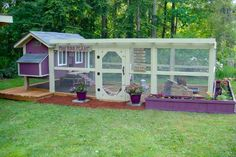 """Awesome purple """"Daisy"""" chicken coop with run."""