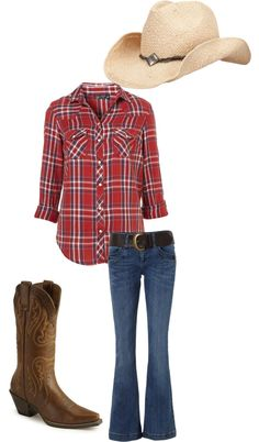 love the outfit for a night out at a rodeo, created by leahrm on Polyvore