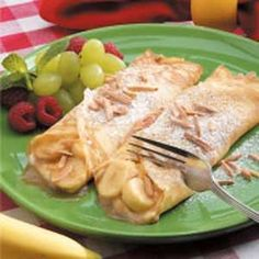 Creamy Banana Crepes Recipe    This was SO YUMMY!  And easy.  I still like MY swedish pancake recipe better, but these were still YUMMY.  Also, instead of the sour cream sauce, just use greek yogurt with honey.  It's a little better for me!  YUM!