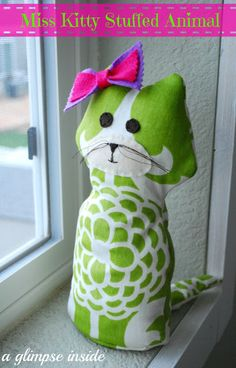 This super cute stuffed kitty was made using @Waverly fabric by @Allison {A Glimpse Inside}! #waverize