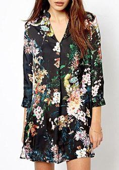 Multicolor Floral V-neck Nine's Sleeve Cotton Blend Blouse