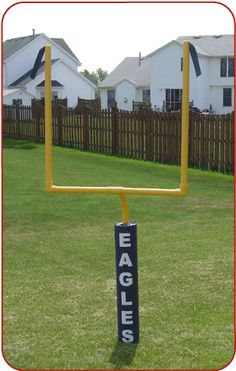 pvc pipe and noodle goal post. LOVE