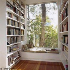 window benches, library rooms, home libraries, reading spot, book