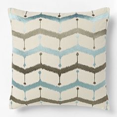 Embroidered Chevron Lattice Pillow Cover - Light Pool | west elm