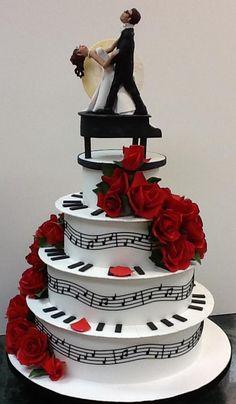 Turquoise Piano Tier Birthday Cake