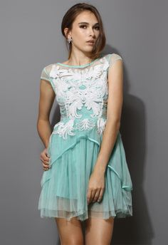 Floral Embellishment Mint Green Tulle Dress