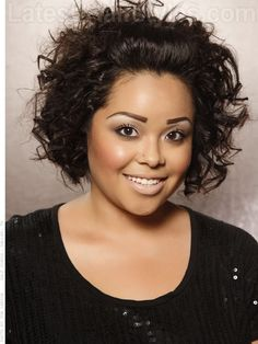 Short and curly hair can rock a half up half down look too! Here's how... http://www.latest-hairstyles.com/short/chin-length.html