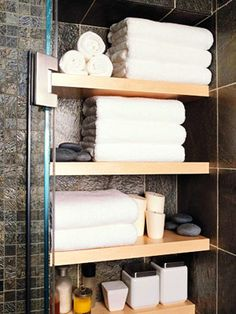 Decorating idea for shelves over toilet