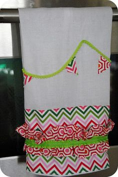 Ruffle dish towel for Christmas gifts