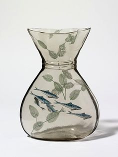 Vase, Francois-Eugene Rousseau, 1878, Paris, glass, mould blown, decorations engraved and enamelled with applied relief, Victoria and Albert Museum.