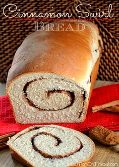 Cinnamon Swirl Bread from MomOnTimeout.com   Perfectly sweet and glorious straight from the oven!  Use the leftovers for french toast this weekend!  #bread #cinnamon #breakfast