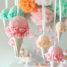 DIY ruffled ice cream cones for cute party decor. (via Icing Designs)