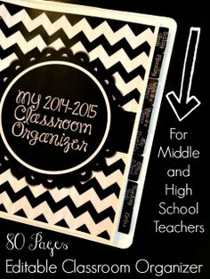 Editable classroom organizer for middle and high school teachers!  Black and white theme for easy printing! $