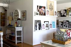 display photos, photo display, photo walls, pictur ledg, displaying pictures, display art, wall shelves, picture walls, hous