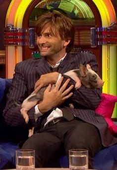 David Tennant and a baby pig