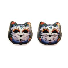 Day Of The Dead Kitty Cat Studs - Jubly-Umph