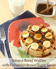 Banana Bread Waffles with Cinnamon-Brown Sugar Syrup from www.a-kitchen-addiction.com
