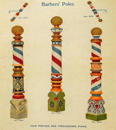 The Modern Barber Pole originated  in the day when blood letting was one of the principal duties of the barbering trade. The two spiral ribbons painted around the wooden pole represented two long bandages, one twisted around the arm before bleeding (to make the vein stand out), and the other used to bind it afterwards.The patient clutched the staff firmly during the entire operation.