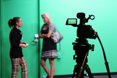Students from St. Kate's volunteer to produce a children's television show for Children's Hospitals of Minnesota in the fall. (Photo by Melissa Kaelin)