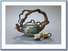Cypress Bonsai Tree Tea Pot Sculpture