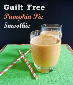 Guilt Free Pumpkin Pie Smoothie. Clean eating recipe! Have it for breakfast, a tasty snack or a healthy dessert. Recipe at www.thetastyfork....
