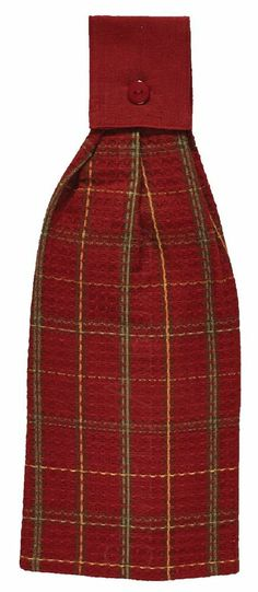 Red Pepper Hand Towel by Park Designs, Red, Dijon, Green & Brown Plaid Design - that would work since my kitchen is open to the living room