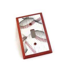 Baseball Room Decor Wood Switch Plate by HookUUpCustomCrafts, $15.00