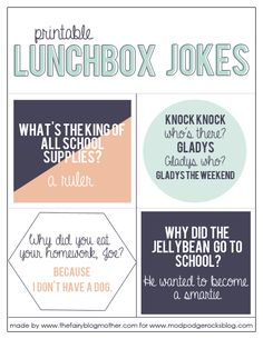 Lunchbox jokes - a free printable to send with your children back-to-school