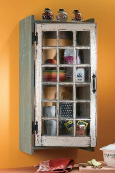 Turn an old window into a cabinet~