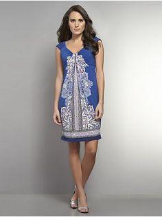 Printed Front-Drape Sleeveless Dress from New York & Company