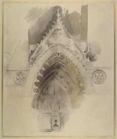 "John Ruskin: ""The northern Arch of the west Entrance of Amiens Cathedral,"" 1856. (http://ruskin.ashmus.ox.ac.uk/collection/8990/9165/9199/8658)"