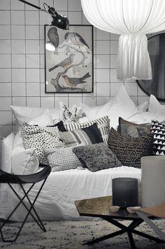monochrome living room - love the birds print