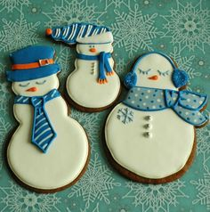 Sleeping Snowman Christmas Cookies