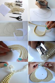 """.:* L - DIY Gorgeous Pearl Necklace Collar from Because I'm Addicted [You'll need: """"1 piece of 81/2 x 11 creme piece of felt;  2 yards of strung pearls;  glue gun or E600 adhesive;  1 ft ribbon;  scissors;  1 piece of paper;  pen;  hole puncher""""]"""