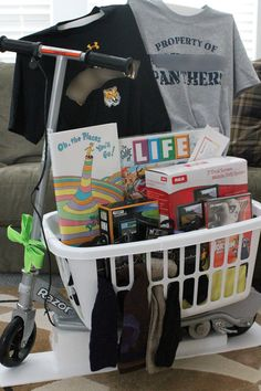 "School Carnival Auction Raffle Gift Basket - ""Oh, The Places You Will Go"""