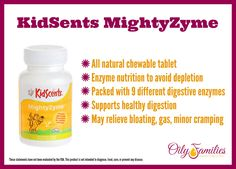 Young Living KidScents® MightyZyme - KidScents® MightyZyme is an all-natural, vegetarian product in the form of chewable tablets designed to help children combat the negative effects of enzyme depletion.  #oilyfamilies #youngliving