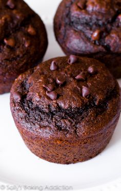 Skinny Double Chocolate Muffins from sallysbakingaddiction.com. You will not even realize these double chocolate muffins are lightened-up an...