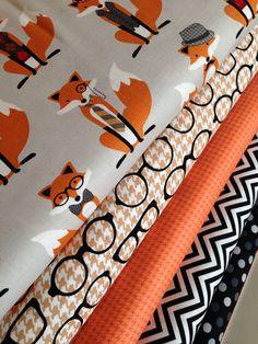 Fox fabric bundle by Andie Hanna for Robert Kaufman- 1/2 Yard Fabric Bundle, 5 total on Etsy, $27.50