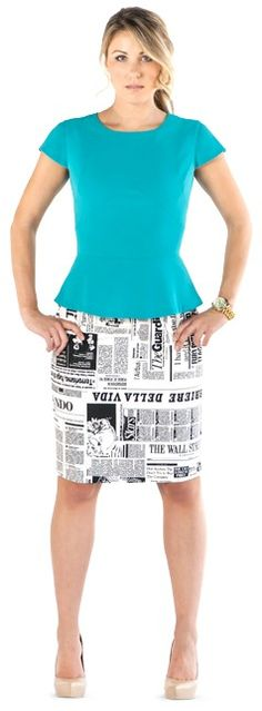 Extra! Extra! Read all about it!  Check out this awesome newsprint pencil skirt in sizes 0-20, only at CarrieHammer.com!