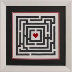 Love Maze modern cross stitch pattern pdf by HipstitchCrossStitch, $11.95