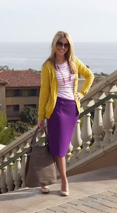 purple skirt and stripes