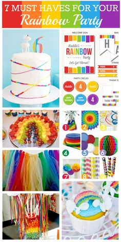 7 Must-Have Rainbow Birthday Party Ideas! Check out these printables, crafts, and food ideas! | CatchMyParty.com